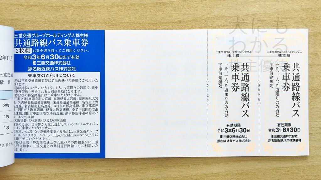 三重交通グループHD 株主優待 乗車券
