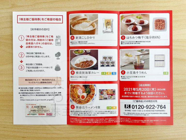 U.S.M.Holdings 株主優待 カタログ