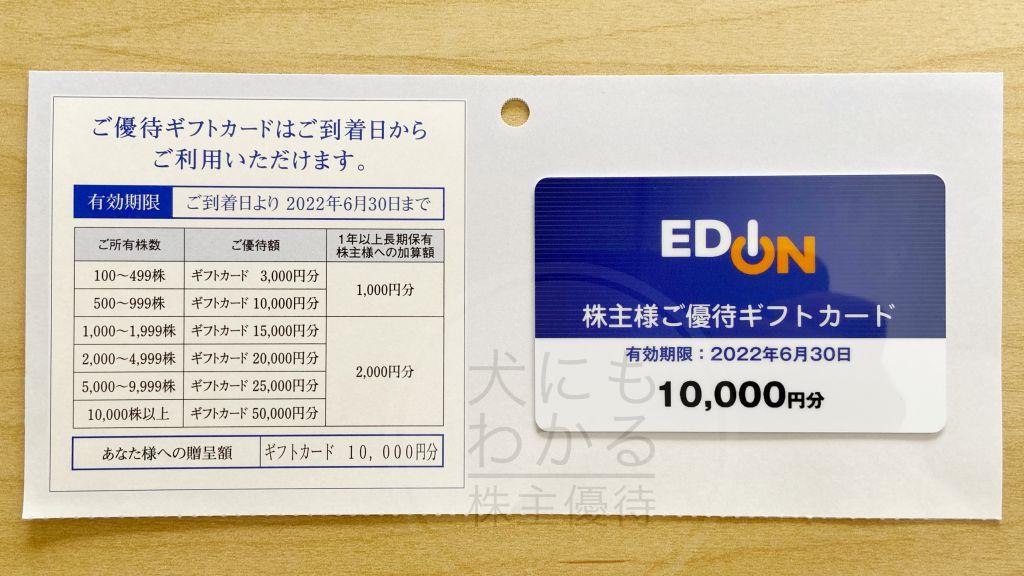 株式会社エディオン 株主優待 優待カード